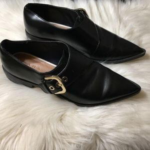 Zara  Leather Oxford Flats W/ Buckle Pointed Toe
